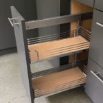 roanoke modern kitchen design by ideal cabinets pull-out shelves in base cabinet
