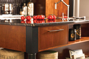 table style kitchen island with pull out drawers