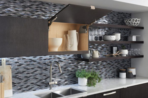 modern dark kitchen cabinet with lift up door and matching shelves