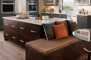 large kitchen island cabinets with white stone countertop