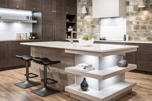 modern kitchen design featuring square island shelves sleek stone backsplash and contemporary kitchen cabinets