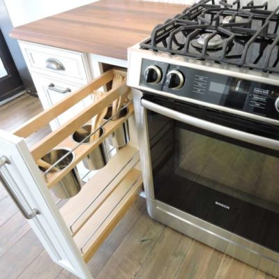 tall kitchen cabinet drawer with shelving
