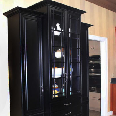 black china cabinet displayed at ideal cabinets showroom