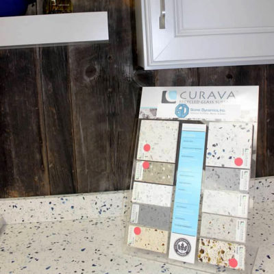 wide selection of countertop choices on display showing different colors and materials