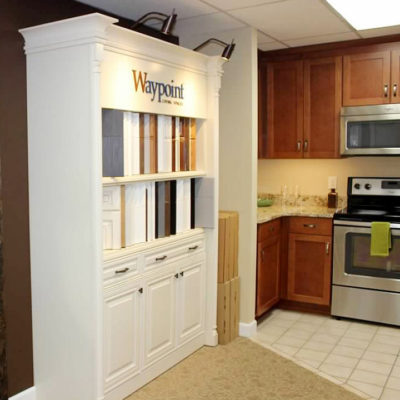 display featuring kitchen cabinet choices of styles and colors at ideal cabinets design and showroom near christiansburg va