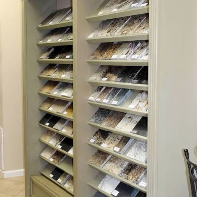 selection of cabinet and countertop materials and colors